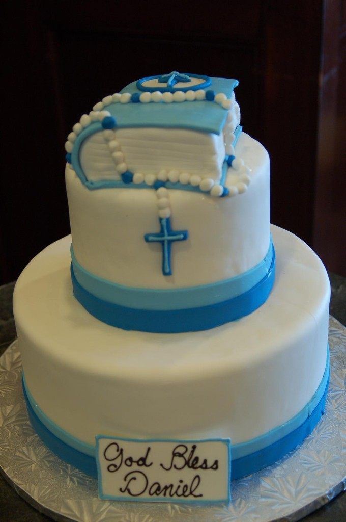 blue tier with rosary and bible