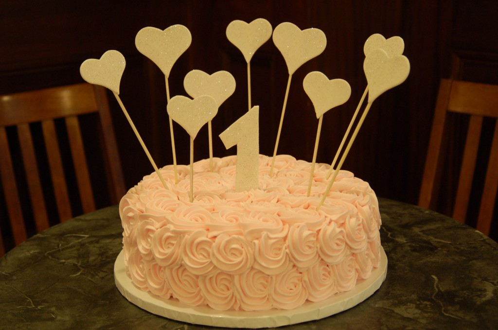 pink rose swirl with glitter hearts